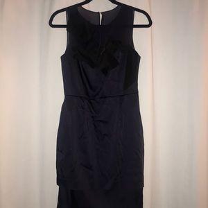 Taylor Navy/Black Satin Cocktail Dress